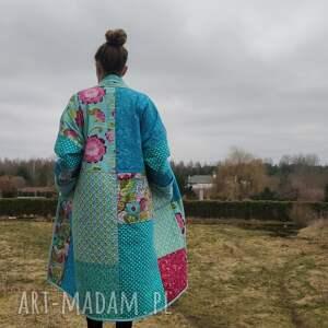płaszcz patchworkowy w stylu boho, długi z kieszeniami, kimonowy - waciak, boho