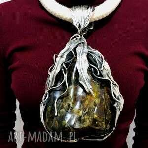 wisiorki ogromny okazały wisior z bursztynem bałtyckim rękodzieło biżuteria