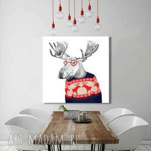 obraz drukowany na płótnie łoś w świątecznym sweterku - duży format 80x80 02498