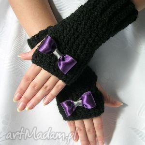 rękawiczki - mitenki czarne z fioletową kokardką - rękawiczki, mitenki
