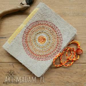 notesy słoneczna mandala - zeszyt a6 w skórzanej okładce, słońce, mandala, notes