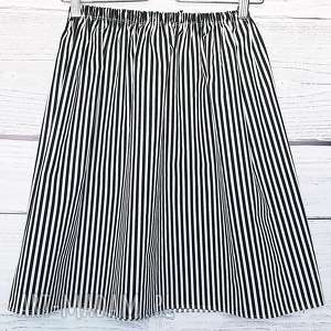 Bawełniana spódnica w czarno-białe paski, w-paski, czarno-biała, casual, klasyczna