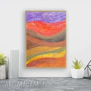oprawiony rysunek, abstrakcyjny rysunek w ramce, kolorowa abstrakcja, a4