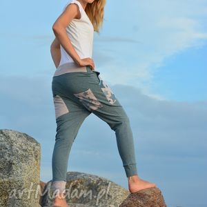 ręcznie wykonane spodnie spodnie gwiazdy damskie - baggy pants