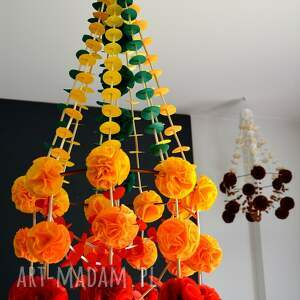 pająk - dekoracja wisząca, pająk, ludowa, folk, pompon, wisząca