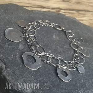 bransoletka srebrna, metaloplastyka, srebro oksydowane, biżuteria na prezent