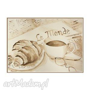 obrazy poranna kawa, akwarela w sepii, akwarela, obrazy, ręcznie, malowane