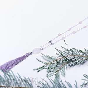 whw boho rose quartz #1, długi, frędzel, boho, kwarc różowy, hematyt, kwarc, pod