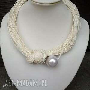 cynamonn: lniany naszyjnik z perłą korale, perła, len, prezent, do lnianej odzieży