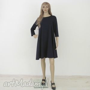 7 - sukienka granatowa, sukienka, rozkloszowana, trapez, mini, elegancka, sukienki