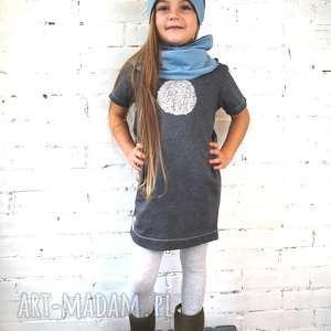 Grafitowa tunika MOON, tunika, sukienka, dziecko, cekiny, dziewczynka, spacer