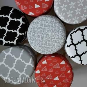 pufa szara mozaika - puf, taboret, ryczka, stołek, siedzisko, hocker