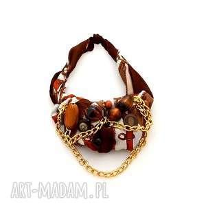 brown sugar naszyjnik handmade - naszyjnik, brązowy, złoty, łańcuch