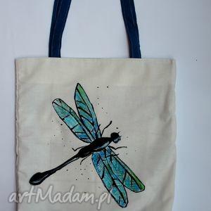 ważka - torba z ręcznie malowanym motywem, eko, rysunek, napis, blogerek, miejski
