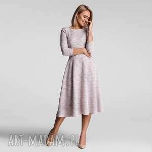 sukienki sukienka klara 3/4 total midi nikola jasny róż (melanż)