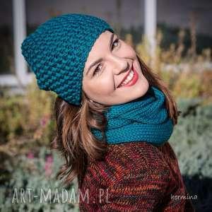 czapki czapka handmade turkusowa, czapka, wełna, morski, robiona na drutach