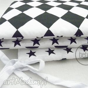 ochraniacz do łóżeczka romby czarno biały - ochraniacz