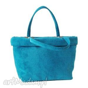 37-0003 turkusowa torebka shopper bag 3w1 / ekologiczna torba na zakupy owl, modne