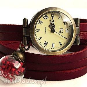 romantyczna czerwień - zegarek bransoletka na skórzanym, prawdziwe