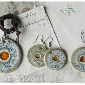 wisiorki zestaw biżuterii miedź kuźni ze szklanym oczkiem, ceramika, wisiorek