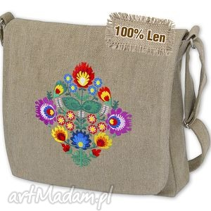 szlufanek torebka z lnu - wycinanka tl1603, torebka, lniana, haft, folk, len