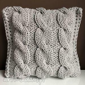 poduszki poduszka ze sznurka bawełnianego jasny szary 40x40 cm, poduszka, warkocze