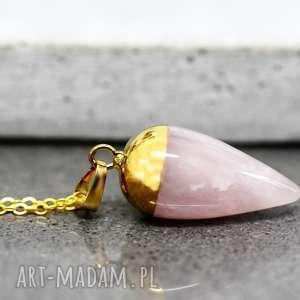 925 rÓŻowy kwarc pozłacany srebrny naszyjnik - kamień, różowy