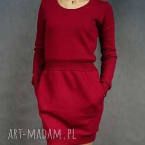 sukienka dresowa bombdress burgundowa, dresowa, długi rękaw, ciepła, burgundowa