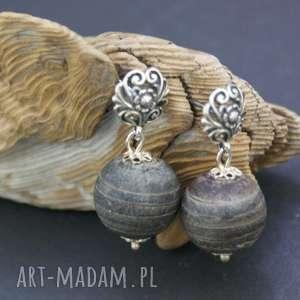 Kolczyki muszla szara w srebrze, kolczyki, muszla, srebro, kule, ażurowe, piękne
