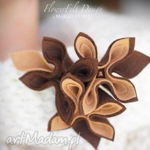 korzenna broszka - broszka, kwiaty, brązowy, prezent