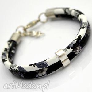 bransoletki bransoletka boho florallo duall black white, rzemień, przekładka