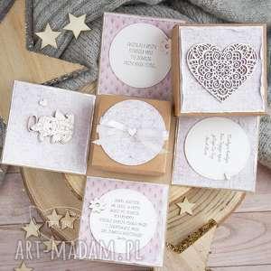hand-made kartki eksplodujące pudełeczko z aniołkiem. Dla dziewczynki. Narodziny. Roczek