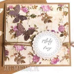 kartka ślubna handmade rustic - ślub, eko