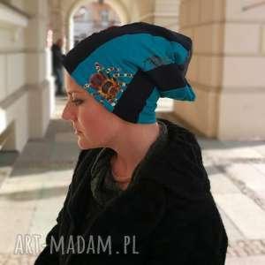 Czapka damska wiosenna uniwersalna patchworkowa czapki ruda