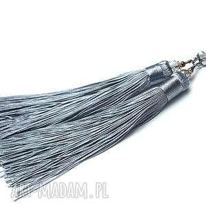 MAXI BOHO /grey/ - kolczyki, srebro, pozłacane, boho, chwosty, długie