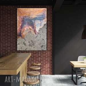 ręcznie malowany obraz do salonu - kosmiczny kamień 100x70 cm, żywica