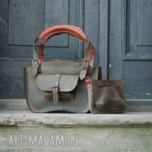 ręcznie robione mała podręczna stylowa torebka kuferek w pięknych kolorach khaki i rudy