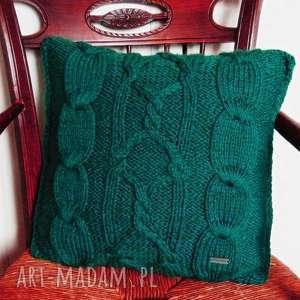Turkusowa poduszka w warkocze, poszewka, na-drutach,