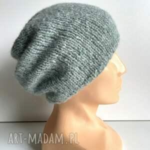 ręcznie robiona czapka hand made alpaka air 30 zielona szałwia, czapka