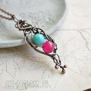 Kontrastowo - naszyjnik wire wrapping z agatem i jadeitem