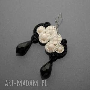 klipsy kolczyki sutasz kremowo-czarne, soutache, sznurek, eleganckie, ecru, ivory