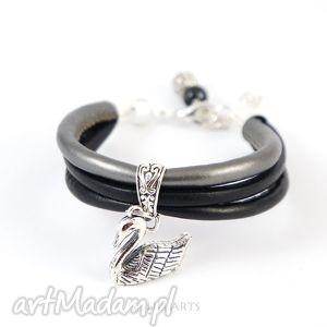 bransoletka - czarny łabędź 2 black swan rzemień pleciony, bransoletka, elegancka
