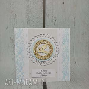 ręczne wykonanie scrapbooking kartki zaproszenie / kartka z gołabkiem/hostią w błękicie