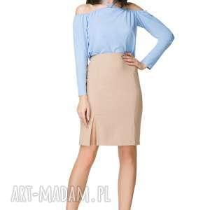 Bluzka z odkrytymi ramionami, T199, błękitna, bluzka, odkryte, ramiona, wiązana, na