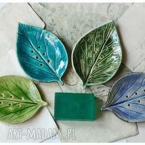 wylegarnia pomyslow zestaw 3 mydelniczek z listkiem, ceramika, mydelniczka, liść