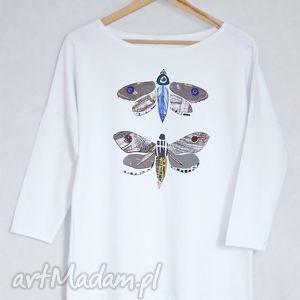 ĆMY bluzka bawełniana oversize L/XL biała, bluzka, bluza, koszulka, nadruk, ćma