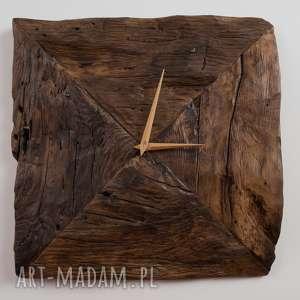 hand-made zegary designerski, unikalny, oryginalny, indywidualny zegar ścienny handmade z drewna dębowego z odzysku