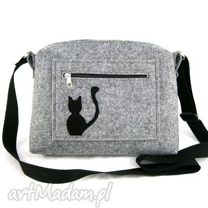 Small bag & cat on pocket - ,torebka,kotek,filc,