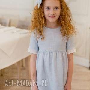 Sukienka Forget Me Not, lnianasukienka, błękitnasukienka, dladziewczynki