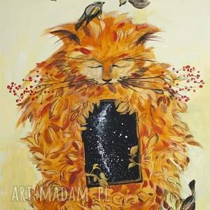akryl na płótnie,obraz i w kocie jest wszechświat, obraz, kot, akryl, płótno, ptak